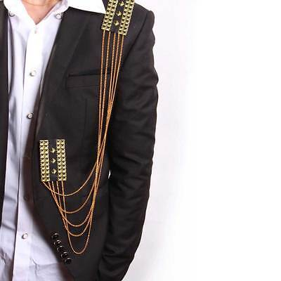 Punk Style Wedding Party Groom Men Epaulets Dangle Chain Gold Badge Brooch Pin