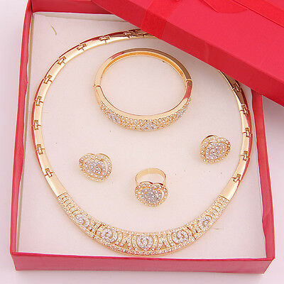 Crystal Rhinestone 18K Gold Plated Necklace African Bridal Wedding Jewelry Set