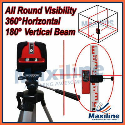 360° Horizontal 180° Vertical Cross Line Laser Level with Tripod Staff Receiver