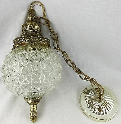 "VIntage 1975 Eko Chain Pendant 6"" Globe Light Brass Finial Cut Glass Look Swag"