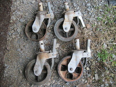 "4 USED Scaffolding Casters with 8"" x 2""  Steel Wheels ONE WHEEL"
