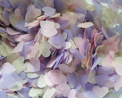 Ivory Soft pink Levander HEART Wedding confetti Pastel color Eco 3 handfuls