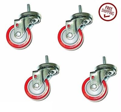 """Set of 4 Casters with 3"""" Polyurethane Wheels & 3/8"""" x 1-1/2"""" Tall Threaded Stems"""