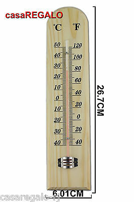 1pc WOODEN THERMOMETER Indoor Outdoor Glass Wall 267mm x 601mm