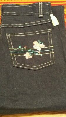 Garanimals Vintage girls jeans Embroidered Butterflies size 12 or 24X27
