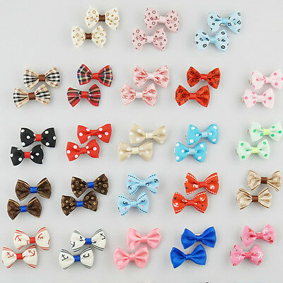 Wholesale 5-50 pairs Pet Dog Cat Print Hair Bow Hair Clips Grooming Accessories