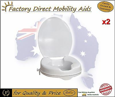 """2 x Toilet Seat Raiser 2"""" 50mm With Lid easy clip on Raises the toilet height!"""