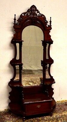 Solid Mahogany Carved Hall Pier Mirror Etagere