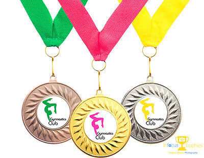 10 x Gymnastics Medals Personalised With Your Logo + Ribbon FREE DELIVERY