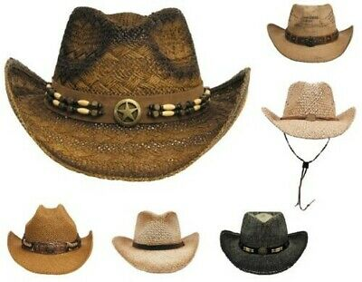 Straw Hat Western Straw Cowboy Country Indian Rodeo Hat Sun Summer Hat New