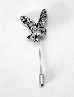 Barn Owl Lapel Stick Pin, Fine English Pewter, Handmade, cravat, tie (ab)