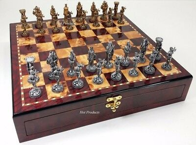 Medieval Times Crusades PEWTER METAL CHESS Set GLOSS Cherry Color STORAGE BOARD