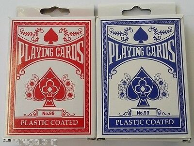 1pc RED or BLUE Playing Card Plastic Coated Pocker Card 85mm x  60mm