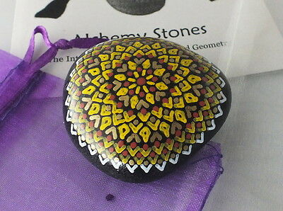 Hand Painted Alchemy Stone w. Gold, White, Yellow & Brown Complex Mandala