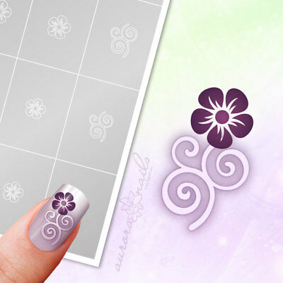 Airbrush sticky templates - FS011 - NAILART - Ornament Floral Flowers pcs.
