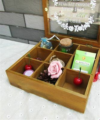 Zakka Retro Vintage 9 Cabinets Jewelry Storage Wooden Box Clear Cover
