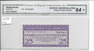 Netherlands Post WW2 Military Currency used in Germany 25 Gulden P.M3 CHOICE UNC