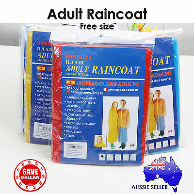 1x Reusable Adult Rain Coat Poncho Emergency Hood Camping Free Size Raincoat