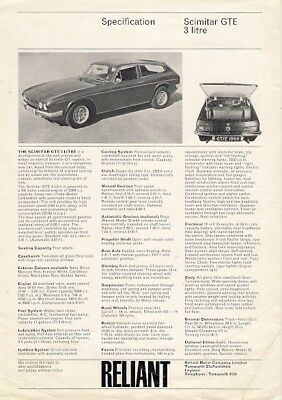 Reliant Scimitar GTE 1969-70 UK Market Specification Leaflet Brochure