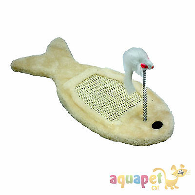 Fish Shaped Cat Scratching Board with Mouse Toy on a Spring