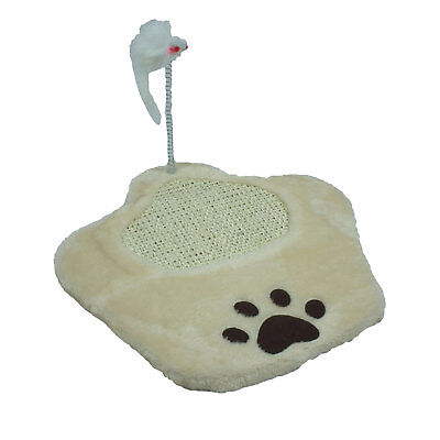 Paw Shaped Cat Scratching Board with Mouse Toy on a Spring