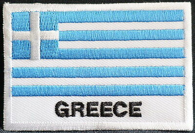 "GREECE FLAG EMBLEM PATCH SEW ON EASY TO USE 2""x3"""