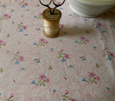 Vintage French Floral Fabric ~ Small Scale ~ Pink Blue Lavender ~ dolls quilts