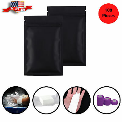 100 Flat Black Metallic Mylar Zip Lock Bags Repacking Pouch w/ Variety of Sizes