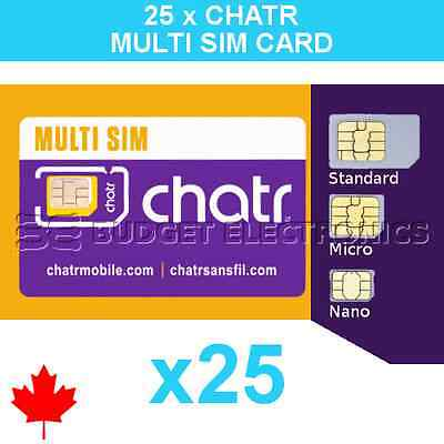 25 pcs New Chatr Multi Prepaid Triple Format Sim Cards - Wholesale Bulk Canada