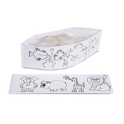 Kids Coloring Chef Hat Disposable Activity Birthday & Kitchen Party Box of 100