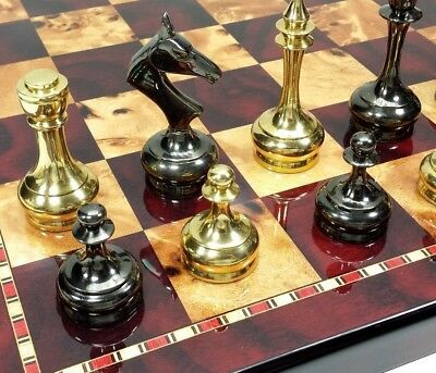 "BRASS METAL Spiked Qn Staunton Chess Set Gold /& Black W// 17/"" Faux Marble Board"
