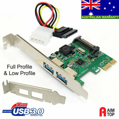 Full & Low Profile USB 3.0 2-Port Self-Powered Card, NEC/Renesas Chipset, Win 10