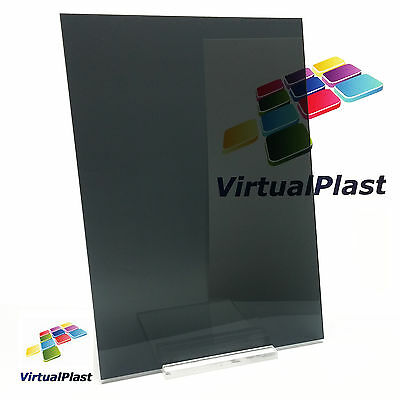 "Transparent Dark Gray Acrylic Plexiglass Perspex 1/8"" x 5.9"" x 8.27"" A5 Sheet"