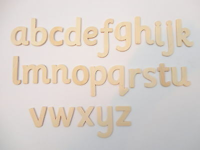 60 Wooden Wood Lower Case  Letters - Natural - Alphabet Set