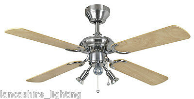 """Fantasia 111658 Bali 42"""" Ceiling Fan Stainless Steel With Maple Blades And Light"""