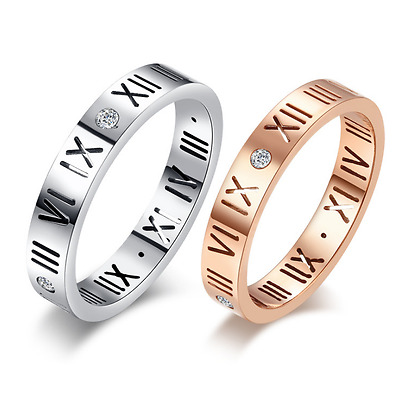 "Micro-inlay CZ ""Roman Numerals"" Rose Gold/Silver Engagement Wedding Ring SZ #6-9"