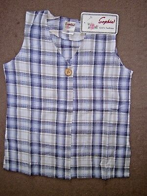 Kids Girl Sophia Blue Check Pattern Linen Waistcoat Top 10-14 Years,100% Cotton