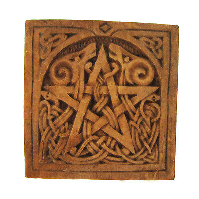 Small Pentacle Plaque | Wood Finish | Dryad Designs | Pagan Wiccan Pentagram
