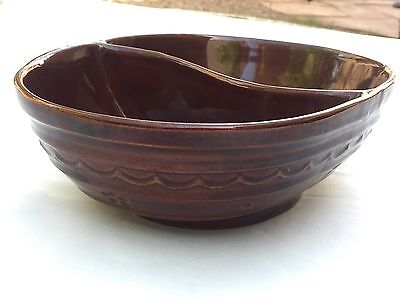 Marcrest Oven Proof Stoneware Divided Serving Bowl Dish Daisy Dot Vintage