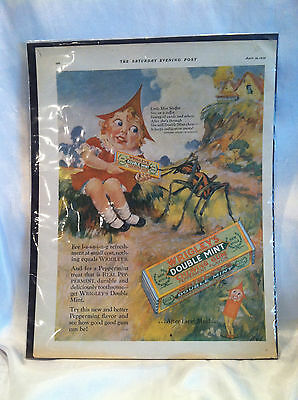 Original Vintage 1928 Wrigleys Double Mint Gum Ad From Saturday Evening Post