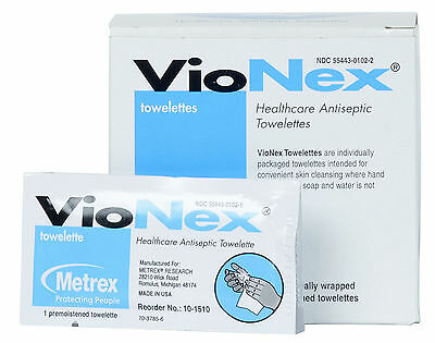 METREX VioNex Antimicrobial Towelettes Antiseptic Skin Conditioner Wipes 50/BX