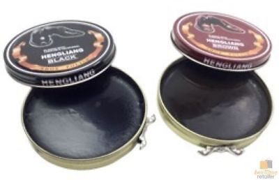 2x SHOE POLISH KIT For Leather Shoes Boot Cream Scuffed Cleaner Black Brown New
