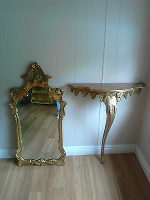 Italian gold leaf table with decorative mirror