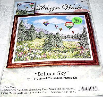 """Design Works Counted Cross Stitch Kit BALLOON SKY 9"""" x 12"""""""