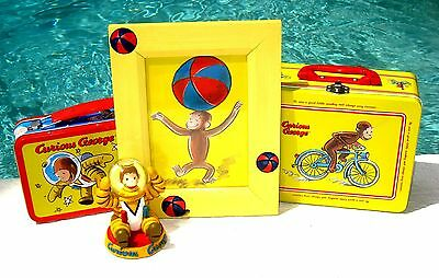 Curious George Collectible Lot Tin Lunchbox Pictures Frames Snowglobe Astronaut