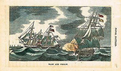 "Naval Battles, 1831 - ""WASP AND FROLIC"" by Westall - Hand-Colored Engraving"