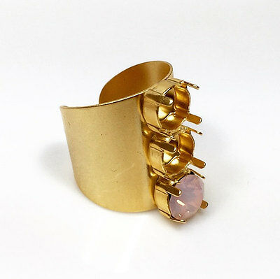 2pcs x Wide Adjustable Ring Matte Gold Plated For Setting Swarovski SS39