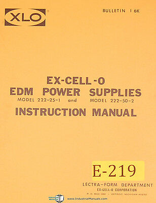 Excello EDM 222, Power Supplies Install Operations Maintenance and Parts Manual