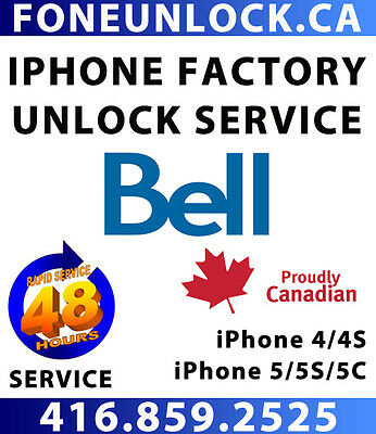 Unlock Bell iPhone 4/4S/5/5S/5C/6/6+/6S/6S+ within 24 HOURS