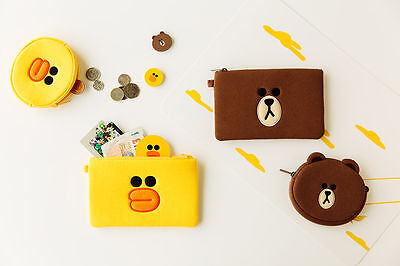 LINE FRIENDS BROWN & CONY Character Multi-Purpose Zipper Coin Purse / Pouch Bag